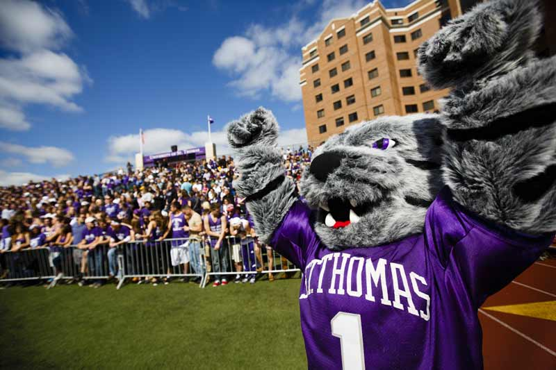 The St. Thomas mascot at a sports game